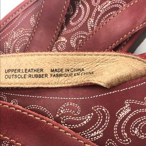 "OluKai Shoes - Olukai Obama Red Leather""Paniolo""Thong 10 Sandals"